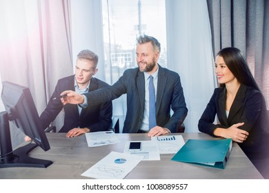 three businessmen at the meeting to communicate