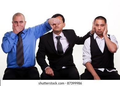 Three businessmen - Three wise moneys. See no evil, hear no evil, speak no evil