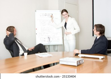 three businesspeople discussing different questions