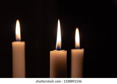 Three candles close up