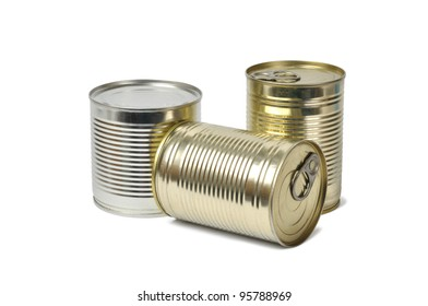 Three cans isolated on white background