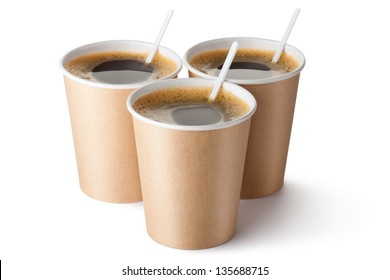 Three cardboard vending coffee cups. Isolated on a white.