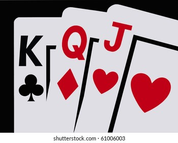 Three Cards -- Closeup of three playing cards, a King, Queen and Jack fanned against a clean black background