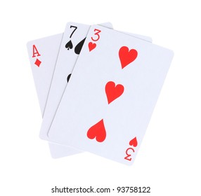 Three cards isolated on white