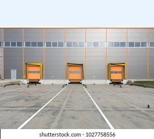 Three Cargo Doors at Warehouse Loading Bay
