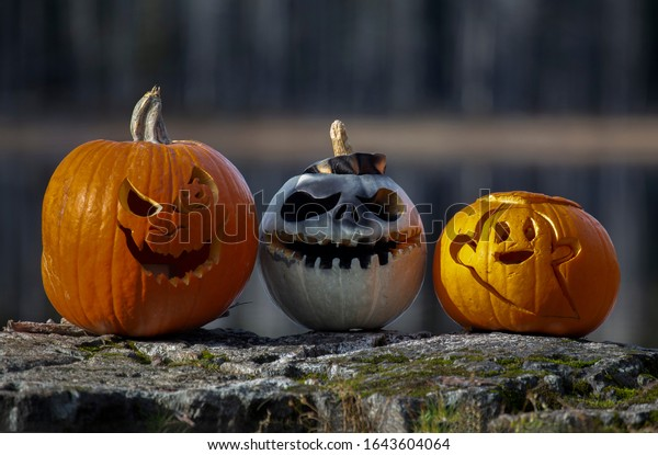 Three carved pumpkins sitting on a rock with a lake in the background.