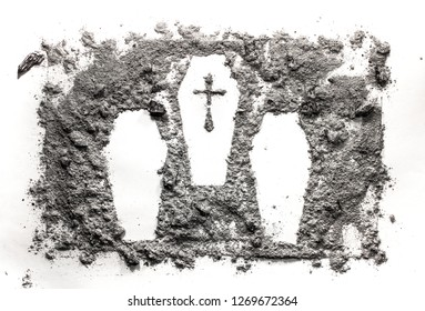 Three cascet or coffin drawing made in ash, dust, dirt as mas murder, crime, war, victim, cemetery, graveyard, genocide, massacre concept