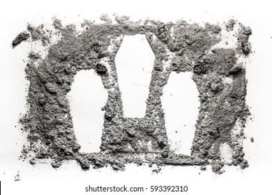Three cascet symbol made in ash, dust, dirt as mas murder, crime, war, victim, cemetery, graveyard, genocide, massacre concept