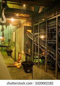 Three casting ladle. Metallurgical plant.