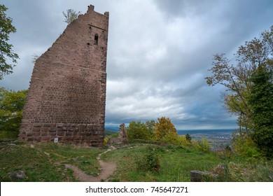 The Three Castles of Eguisheim (Les Trois Châteaux d'Eguisheim) near Hohlandsbourg castle, Alsace, Eastern France