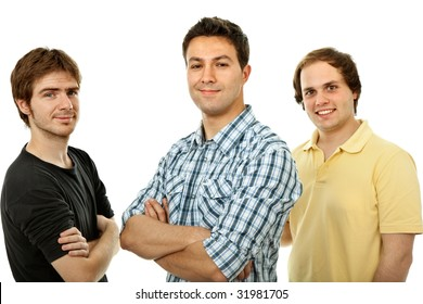 three casual men isolated on white background