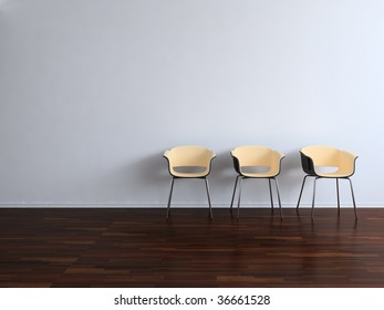 Three Chairs to  face a blank wall