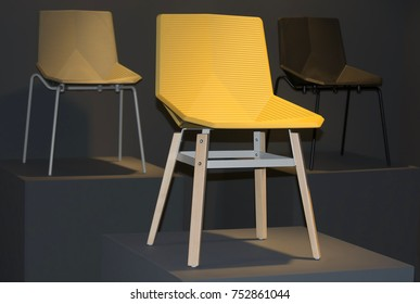 Three chairs made of different materials