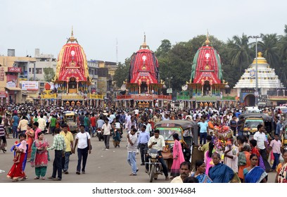 Three Chariots of Lord Jagannath, Balabhadra and Subhadra reach and stand in front Gundicha Temple on July 201, 2015 in Puri, India.