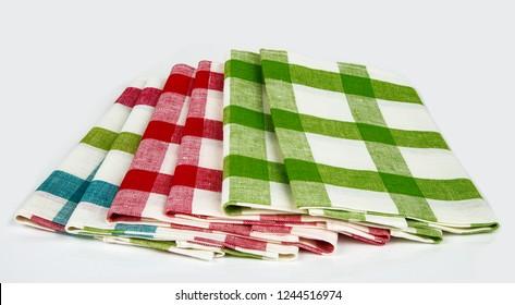 Three Checkered Dishcloth isolated on white Background