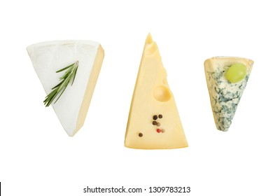 Three cheeses, cheese platter: yellow Maasdam cheese, white Camembert cheese and blue cheese Dor Blue isolated on white. Top view.