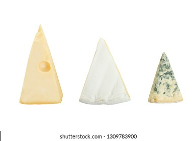 Three cheeses: yellow Maasdam cheese, white Camembert cheese and blue cheese Dor Blue isolated on white. Top view.