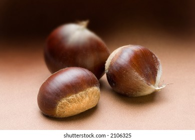 three chestnuts with limited depth of field