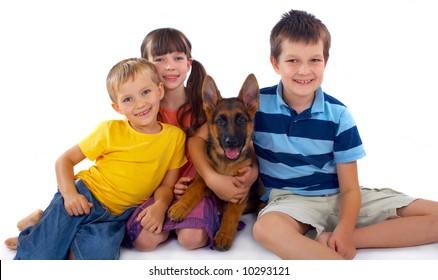 Three Children And Dog
