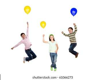 Three children flying with balloon inflated isolated on white background