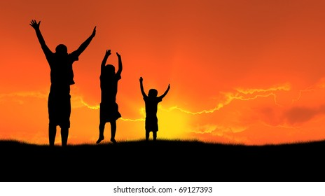 three children jumping for joy silhouetted sunset