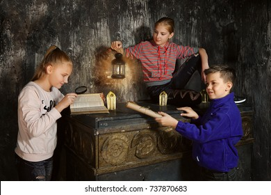 Three children in quest game solving a riddle