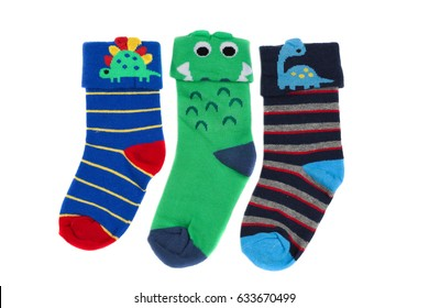 Three childrens colored socks, isolate on a white background