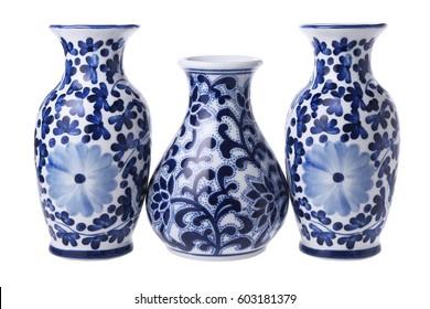 Three Chinese Porcelain Vases on White Background