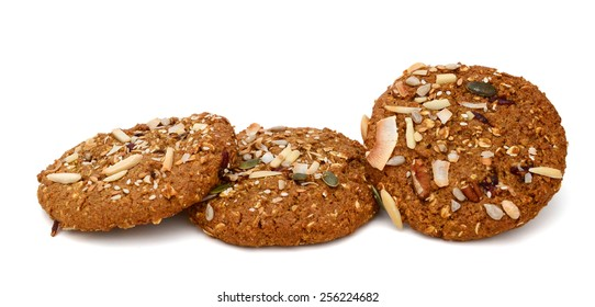 three chip cookies with nut on white background