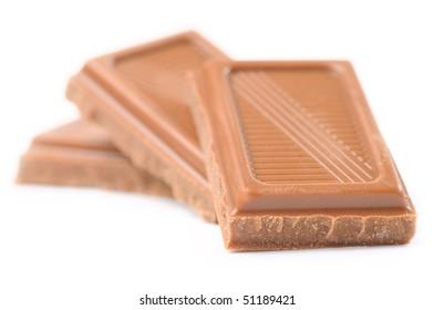 three chocolate bars isolated on white
