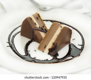 Three chocolate cake with caramel