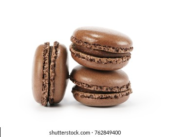 three chocolate macarons isolated on white