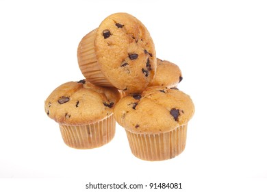 Three chocolate muffins isolated on a white background