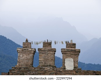 The three chortens at Sikkims ancient capitol Rabdentse (India) in the Himalayan mountains