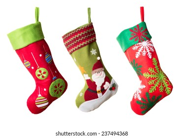 Three Christmas stockings isolated on white background