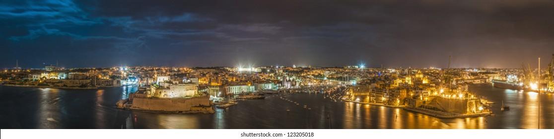 Three Cities (Vittoriosa, Senglea and Cospicua) waterfront as seen from Valletta, Malta