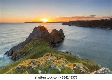 Three Cliffs Bay, Gower, Peninsula, Swansea, Wales, U.K.