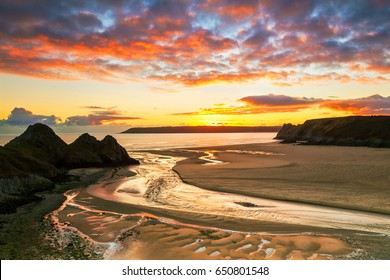 Three Cliffs Bay, Gower, Peninsula, Swansea, South Wales, UK