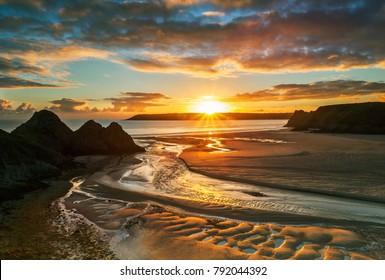 Three Cliffs Bay, Gower, Peninsula, South Wales, UK