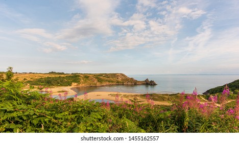 Three Cliffs Bay,  Gower, Swansea, Wales, UK, viewed from an elevated position.
