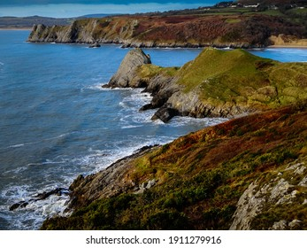 Three Cliffs Bay at high tide in the Gower Peninsula of Southern Wales