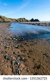 Three Cliffs Bay south coast beach the Gower Peninsula Swansea Wales uk