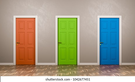 Three Closed Doors with Different Color in Front in the Room 3D Illustration Choice Concept & 3 Doors Images Stock Photos \u0026 Vectors | Shutterstock