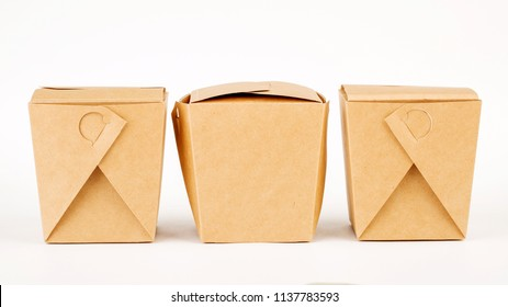 Three  closed paper boxes. Asian fast food concept.