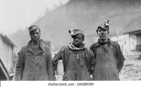 Three coal miners of the Lorain Coal & Dock Company, Lorado, West Virginia, 1918.