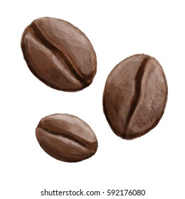 Three coffee beans hand painted illustration isolated on white