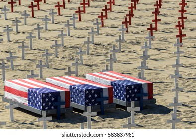 Three coffins covered in American flags and many crosses on the sand remember soldiers who died in the war against terrorism