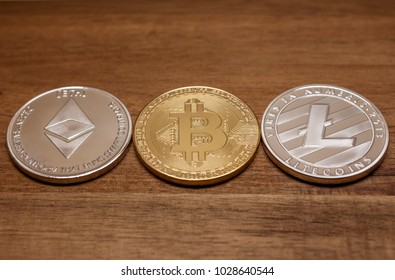three coins bitcoin ligtecoin ethereum