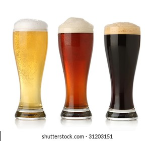 Three cold beer, isolated on white