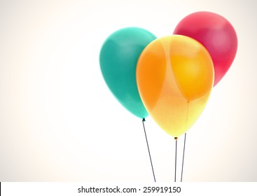 Three color balloons on white background, best fir gift card template